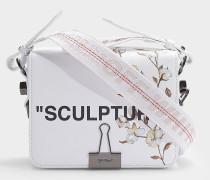 Handtasche Flap Fleur aus weißem und schwarzem Kalbsleder