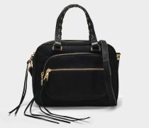 Shanna Satchel Tasche aus schwarzem Kuhleder