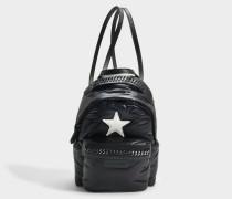 Öko Nylon Stars Falabella Go Mini Backpack aus schwarzem und elfenbeinfarbenem Polyester