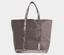 Pailletten and Canvas Medium Zipped Tote Bag aus anthrazitfarbener Baumwolle