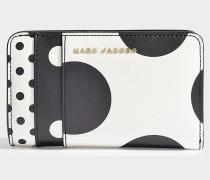 Portemonnaie Compact aus Leder und Polyurethan in Schwarz und Weiß