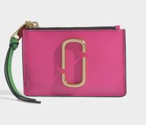 Geldbörse Snapshot Top Zip Multi aus rosa Leder