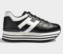 Sneaker Maxi Platform aus schwarzem, glattem und weißem Kalbsleder