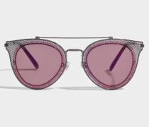 Metall Sonnenbrille aus rosanem Metall
