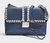 Greta Shoulder Tasche aus Medium blauem Plain Kuhleder mit gewebtem Material Details