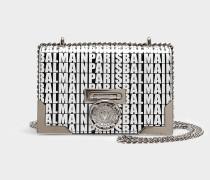 Handtasche mit Taschenklappe Baby Box 20 aus schwarzem und weißem Kalbsleder