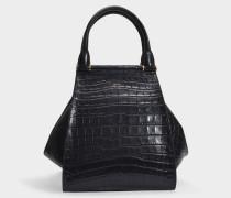 Shopper Anita Medium aus schwarzem kroko-geprägtem Kalbsleder
