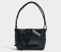 Musubi Handtasche aus schwarzem Kalbsleders- und Lammleder