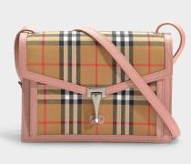 Kleine Handtasche The Macken aus Vintage Check Stoff und rosa Kalbsleder