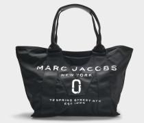 Logo Small Tote Bag aus schwarzer Baumwolle und Nylon