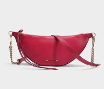 Faye Shoulder Bag in Raspberry Nappa Leather with Embossed Choo Logo