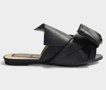 Leder Tie Front Mule Schuhe aus schwarzem Nappa Leder