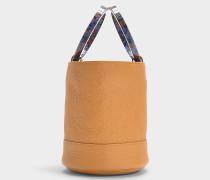 Handtasche mit Schulterriemen Bonsai 20 cm aus braunem Kalbsleder