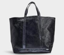 mittlerer Shopper + aus schwarzem, beschichtetem Stoff und Pailletten
