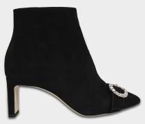 Hanover 65 Stiefel mit Schmucksteinschnalle aus schwarzem Wildleder