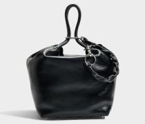 Roxy small Tote Tasche aus schwarzem Kalbsleder