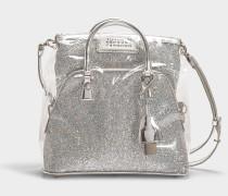 Handtasche 5AC aus silbernem Kalbsleder