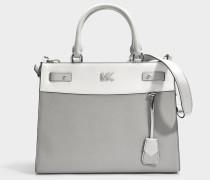 Mott Uptown Large Satchel Tasche aus grauem und weißem small gekörntem Pebble Leder