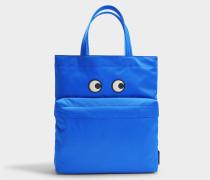 Eyes Tote Tasche aus Electric blauem Nylon