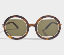Show Round Sonnenbrille aus Havana Acetat und Metall