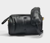 Chubby Barrel Crossbody Tasche aus schwarzem gestepptem Kalbsleder