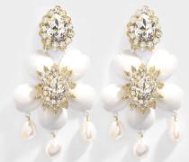 Exclusive Dahlia Crystal Ohrringe aus Kristal, Messing, Swarowskisteinen und Perlen