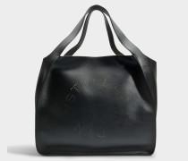 Oversize Alter Nappaleder East West Stella Logo Tote Bag aus schwarzem Öko Leder