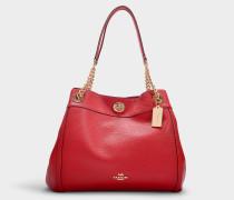 Shopper Turnlock Edie aus rotem Kalbsleder