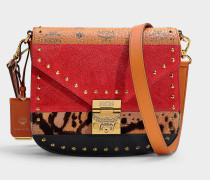 Kleine Handtasche Patricia Leopard Combo aus rotem Kalbsleder