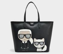 K/Ikonik Shopper Tasche aus schwarzem Technical Saffiano