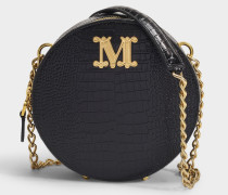 Runde Tasche Fedoras in kroko-geprägtem schwarzem Kalbsleder