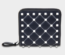 Free Rockstud Spike Zip Around French Geldbörse aus navyblauem Nappaleder