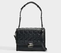 K/Kuilted Handtasche aus schwarzem Lammleder