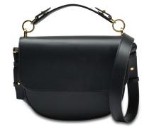 Schleife Medium Tasche aus schwarzem Kalbsleder