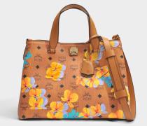 Flower Crossbody Tote Bag aus Cognac beschichteter Baumwolle