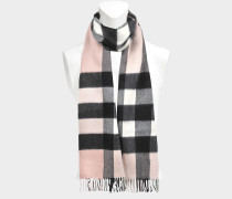 Half Mega Check Scarf in Ash Rose Cashmere
