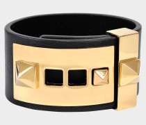 B-Rockstud Armband aus schwarzem Leder