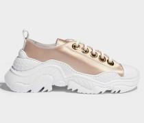 Satin Exagerated Sole Sneakers aus Nude und weißem Satin
