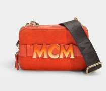 Mini Handtasche Cubism Suede aus orangem Kalbsleder und Beige