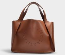 Shopper Stella Logo aus braunem Eco Leder