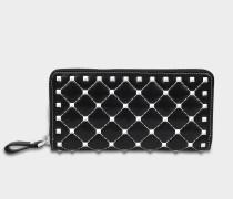 Free Rockstud Spike Zip Around Continental Geldbörse aus schwarzem Nappaleder mit weißem Studs