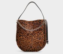 Handtasche Hobo Roxy aus Kalbsleder in Ponyfelloptik mit Leoprint