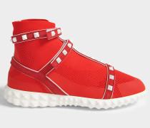 Rockstud Bodytech Hightop Sneaker aus rotem Nylon und Plastik