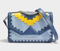 K/Klassik Zig Zag Shoulder Bag aus Mystic blauem Kalbsleder