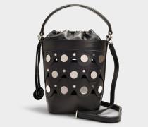 Bucket Bag Penny aus schwarzem und silbernem Kalbsleder