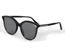 Cut Away Kitten Sonnenbrille aus schwarzem und goldfarbenem Acetat und Stahl Nickel
