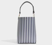 Ora Shopper Tasche aus navyblauem und weißem Kalbsleder