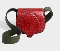 The Satchel Micro Tasche aus Vibrant rotem und gelbem Lizzard