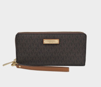 Money Pieces Travel Continental Wallet in Brown Canvas