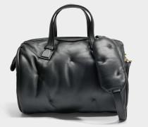 Chubby Barrel Tasche aus schwarzem gestepptem Kalbsleder